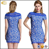 Ecoach wholesale fashion teenage party dress Blue short sleeve lace mini elegant latest party dress designs for ladies
