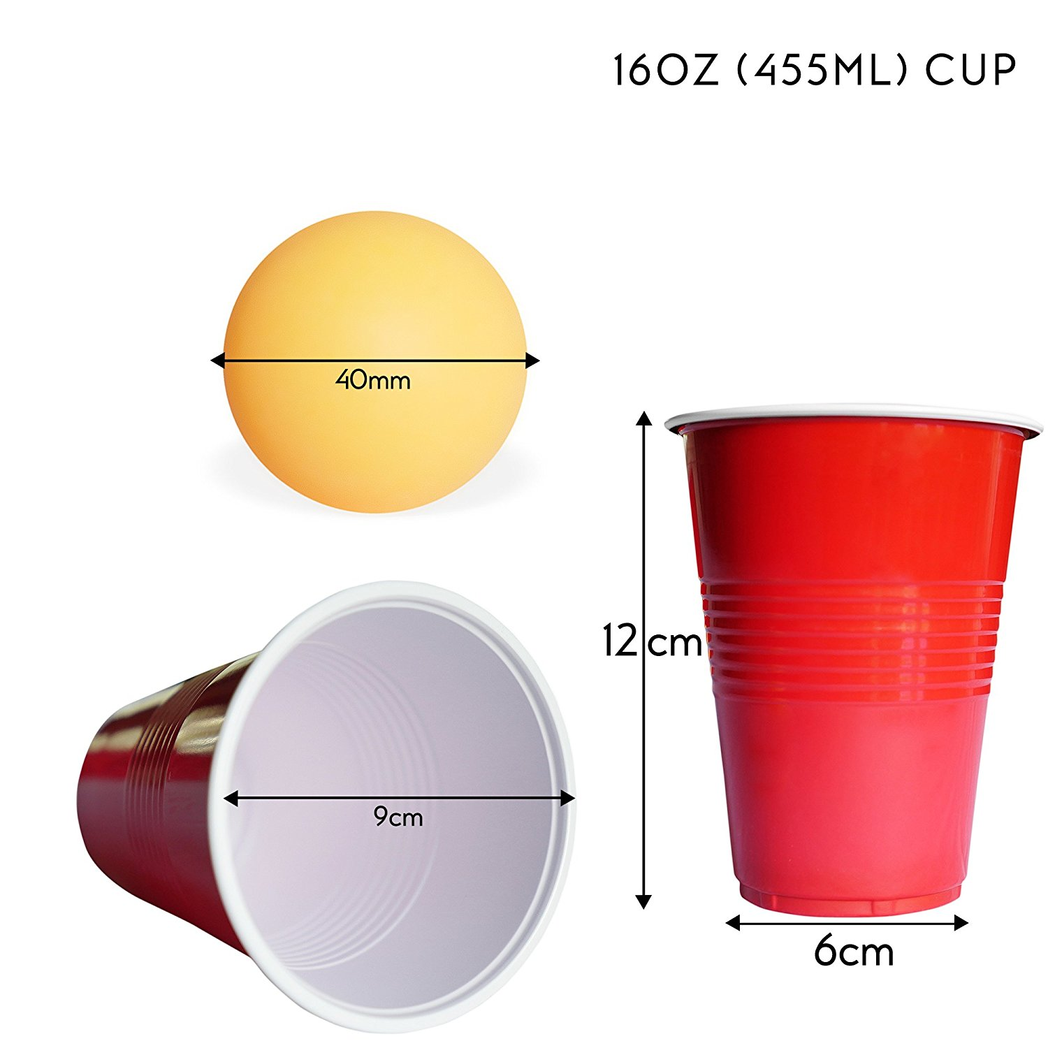 Beer pong game set with 24 pieces cups and 24 pieces balls