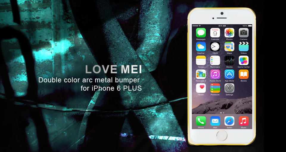 LOVEMEI Double Color Arc Metal Bumper for iPhone 6 Plus case Ultra thin Polymer Aluminum A6061 Skidproof cover Perfect Protector