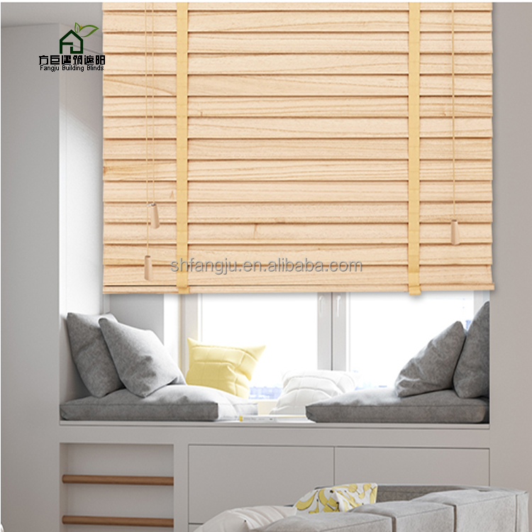 Fangju PVC Faux Wood Venetian Blinds ,Wooden Sun Shades for Living Room