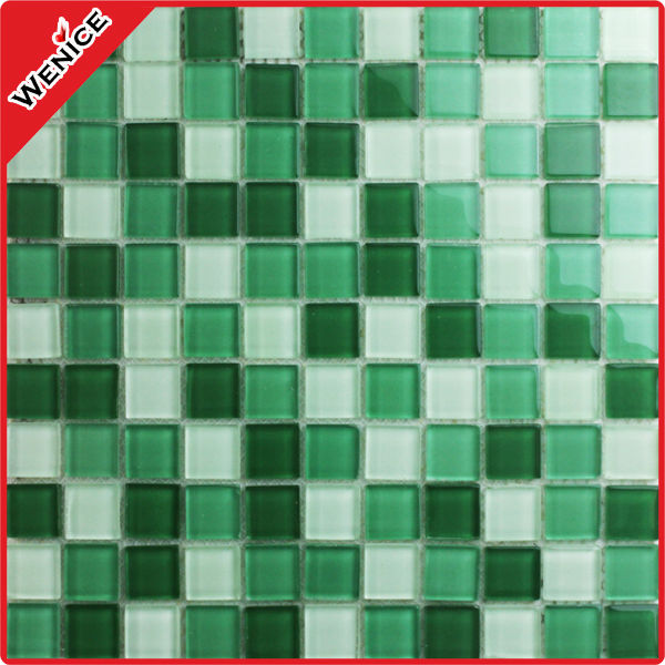 green and white bubble glass tile