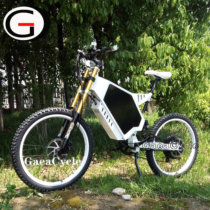 GaeaCycle motor cycle stealth bomber electric bike 72v 3000w full suspension mountain bicycle