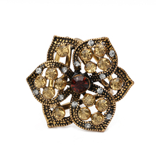 Fashion Rhinestone Brooches Pins Opal Stone brooch Flower Scarf Clips Crystal Three Buckles Scarf Clips for Women Girls Gifts