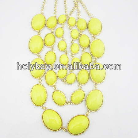 Multi layer Neon yellow bubble pendant necklace,Resin stone gold chain jewelry necklace,big yellow stone necklace