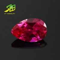 beautiful 4*6mm pear shape red color synthetic ruby corundum jewelry stone