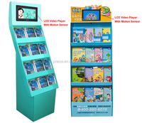 "advertising lcd display 7"" digital photo frame full hd media player attached to floor stand display shelf integrated"
