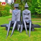 Large outdoor metal abstract love couple on bench bronze sculpture for garden