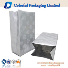 moisture proof laminated heat seal aluminum foil lined mylar side gusset bags for food with tear notch