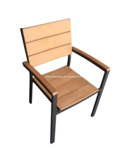 garden aluminum frame poly wood dining chair