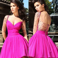 2014 Beautiful Sweetheart Neckline Short Cocktail Dress Prom Gowns Long Sleeve Crystal On Nude Sheer Special Occasion Dress