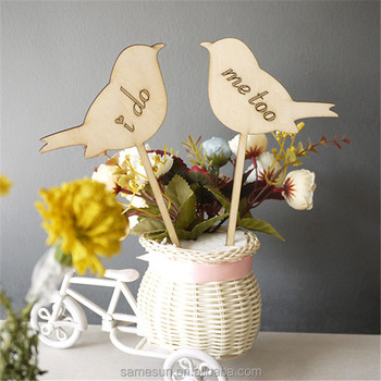 Love birds wooden cake topper
