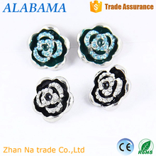yiwu jewelry garment accessories black enamel rose shape rhinestone crystal 20mm ginger snap button