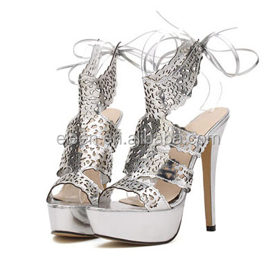 Peep-toe sexy dress silver high heel sandals