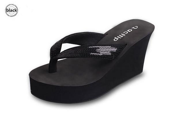 2015 Summer Wedges Flip Flops Shoes Paillette Flip Slippers Women Ultra High Heels Slippers Acttip Beach Slippers