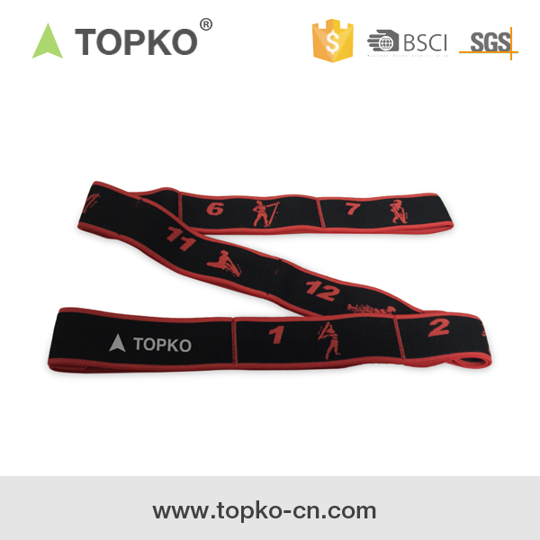 TOPKO Custom woven polyester elastic yoga stretch strap with loops