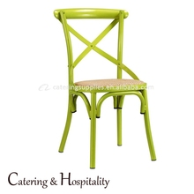 Metal Dining Chair Curved Leg Cross Back Chair, Industrial X Back Style Chair