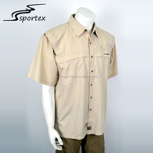 China factory wholesale camping fishing quick dry outdoor khaki short sleeve shirt for men