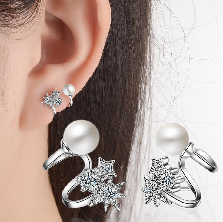 Korean Fashion Design 18K Gold Plated silver earing jewelry Clear Cubic Zirconia Micro Paved Ear Cuff Stud Earrings