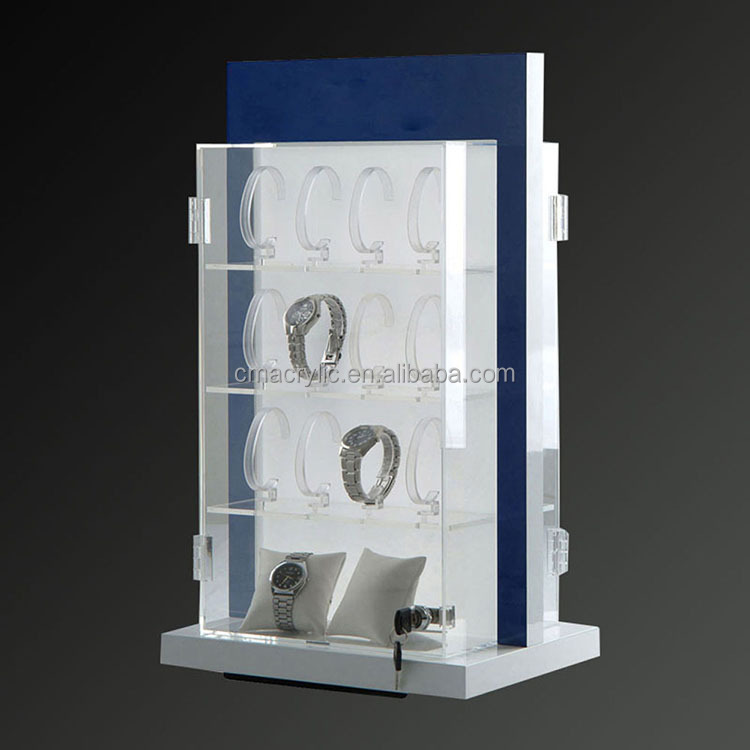 Rotating lockable acrylic watch display cabinet with double sides