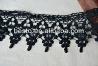 D715 2013 Hot sell hig quality pretty ladies embroidery cotton black flower lace