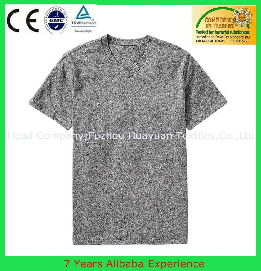 grey blank 95 cotton /5 elastane Plain hot basic t-shirt wholesale