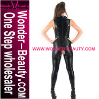 High Quality Black Sex Lady Wet Look Rubber Catsuit