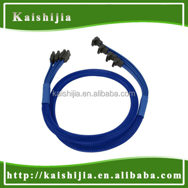 High Speed Sleeved SATA III 6Gbps 7Pin Cable with Latch X 4, SATA 7Pin Cable