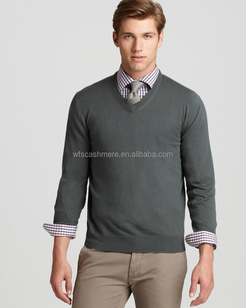 European style v-neck pullover 100% cashmere sweater men