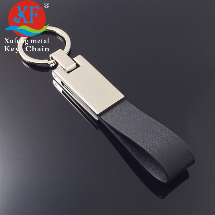 Custom design multi - function blank car leather keychain with hook
