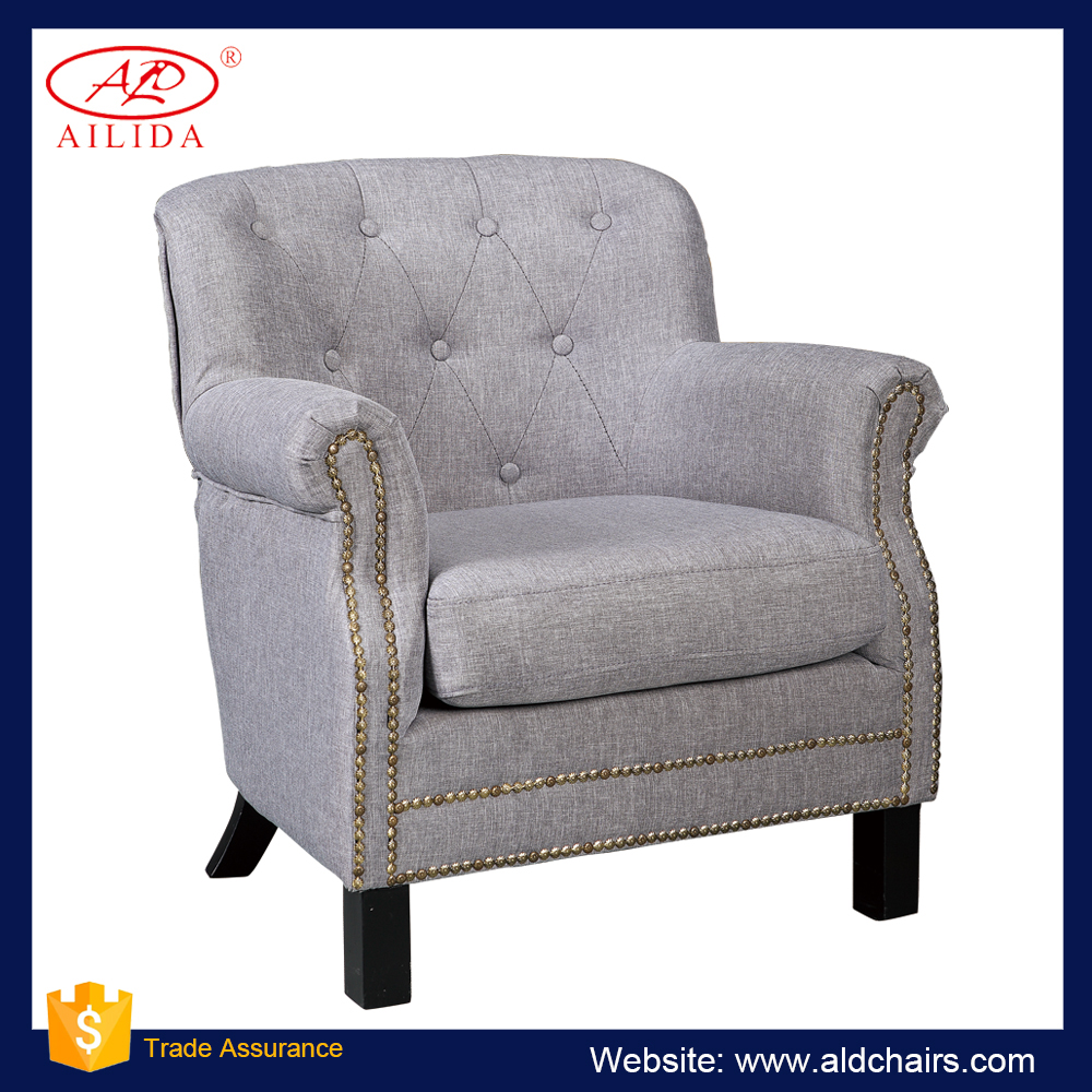A-43(157) Rolling Armrest, Button Back, Wooden Legs Accent chair