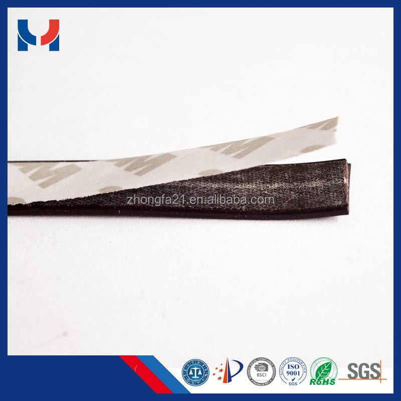 Adhesive flexible magnetic strip, rubber magnetic tape roll, double sided 3m adhesive backed magnet
