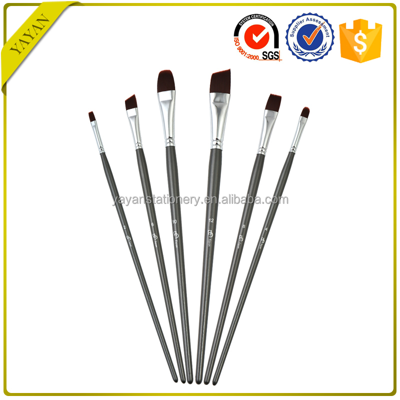 Professional 6PCS Synthetic Nylon Long Wooden Handle Artist Painting Brush