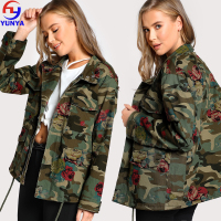 2018 trending products army green utility printed floral camo camouflage military women jacket