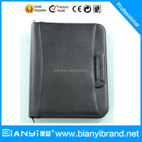 2016 Multi functional Soft A4 Magnetism leather portfolio with ring binders and retractable handle