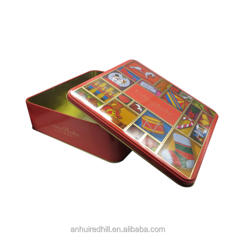 China supplier empty square christmas chocolate tin box