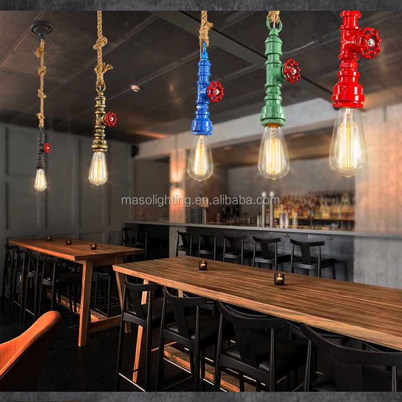 Water-tap Loft droplight Vintage Retro Multi-color Water Pipe Hemp Rope Pendant Lamp for Bar counter cafe Restaurant Decor