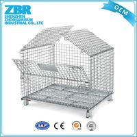 Portable rolling metal storage wire mesh quail cage