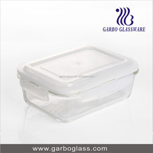 rectangle 1000ml airtight glass bowl/ airtight glass crisper/glass storage box