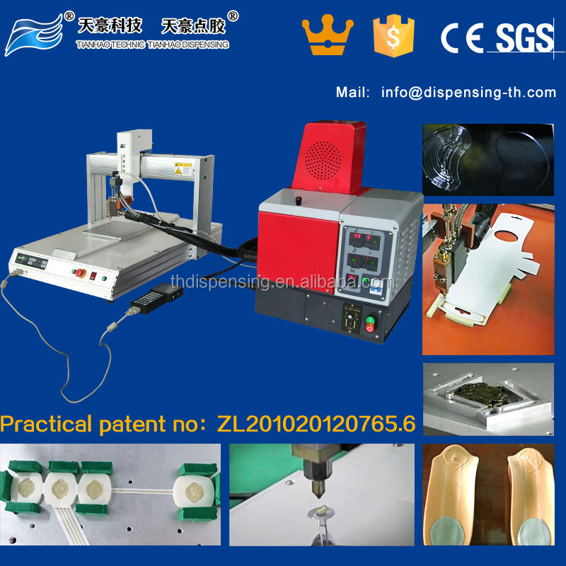 Hot melt adhesive gluing machine/hot melt glue coating machine china supplier TH-2004D-300ML