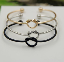 2.2mm Unscrew Beaded Bangle Adjustable Stainless Steel Love Knot Bracelet