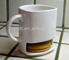 White Porcelain Gifts For Office Use/ Mug With Biscuit Pocket/Custom Mug