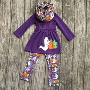 Halloween FALL/Winter baby girls outfits 3pieces scarf purple top goest pumpkin BOO long pant boutique children cotton clothes