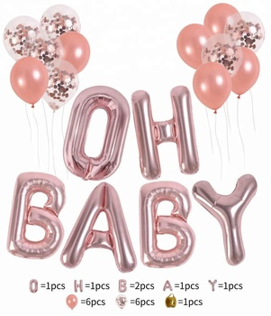 "12 inch Rose Gold Confetti Latex Balloon 16 Inch ""OH BABY"" Letters Foil Balloons Set Baby Girl/Boy Shower Balloons"