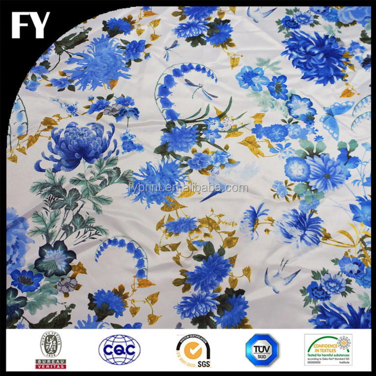 Factory custom new design digital printing top quality satin fabric for skirt