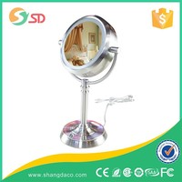High-end decorative double sided round portable makeup table 30 x magnifying mirror with light