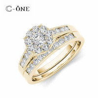 Hand Make Channel Setting Vintage Yellow Gold Wedding Ring Sets for Ladies