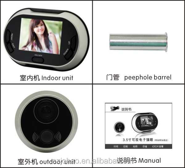 ACTOP PHV-3502 black digital peephole viewer door camera 3.5 inch TFT color display screen
