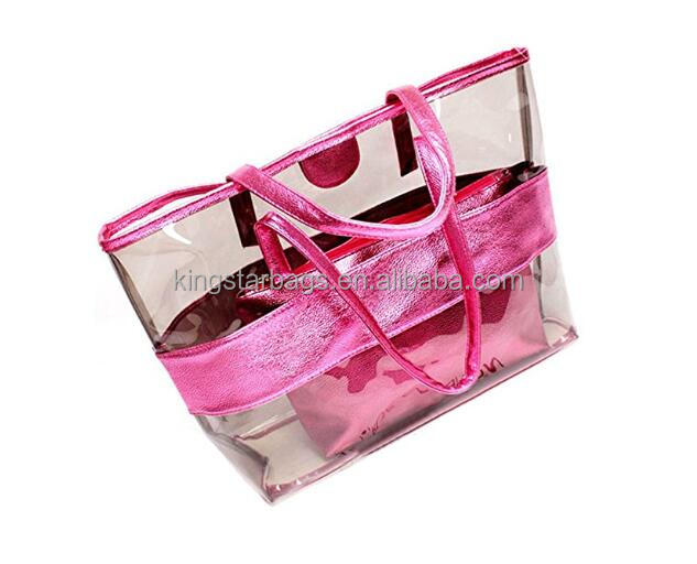 Ladies clear jelly candy color handbag tote bag beach bag