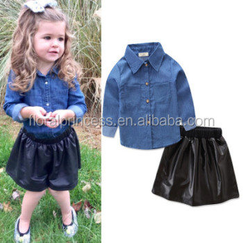 2PCS Fashion Kids Baby Girls Clothes Autumn Long Sleeve Denim Tops Shirt Black Leather Tutu Skirts Stylish Girls Outfits
