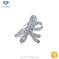 China supplier of break traditional bowknot 3AAA Double Ribbon Bow Pave setting 925 sterling silver ladies daily wear rings